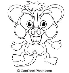 Blackenning and blanching cartoon mouse