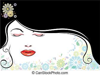 blackhair, ansikte, blomma
