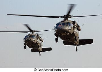 blackhawk, helicópteros, aterragem
