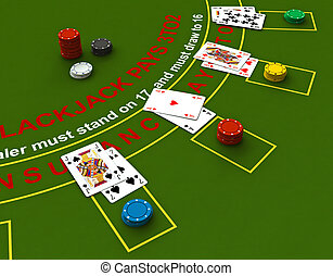Blackjack - 3d render of blackjack table scene