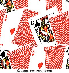 Blackjack cards in a seamless pattern