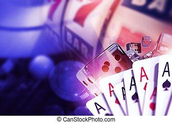 Blackjack Craps and Slots. Casino Games Concept 3D Rendered...
