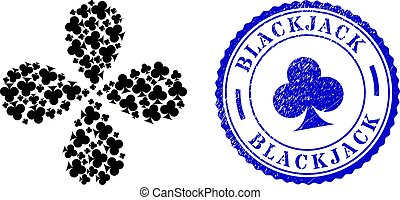 Blackjack Distress Seal Stamp and Playing Card Club Suit Rotation Motion
