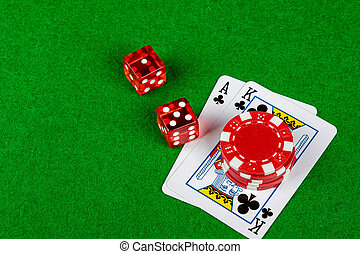 Blackjack hand with betting chips