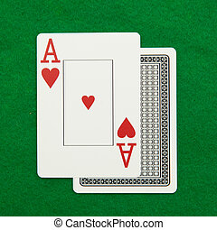 Blackjack hand with casino chip