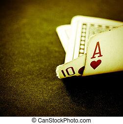blackjack - a hand of blackjack in retro color