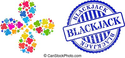 Blackjack Scratched Seal Stamp and Playing Card Club Suit Colorful Curl Motion