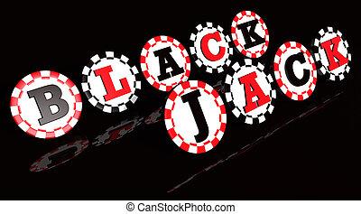 Blackjack Sign On Chips - Blackjack sign on black and red...