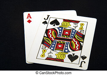 Blackjack made from Ace of Diamonds and Jack of Spades