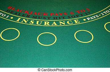 Blackjack Table - A Closeup of blackjack table in a casino