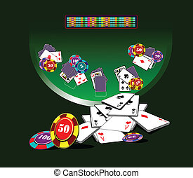 Blackjack  table and casino elements