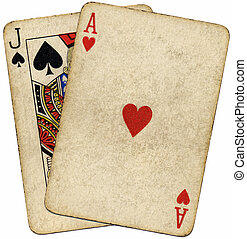 Blackjack vintage dirty cards isolated over white.