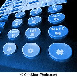 blacklit phone keys - blue glowing - phone keypad.