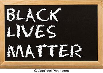 Blacklivesmatter text with copy space on blackboard.