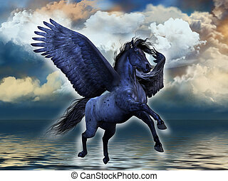 BLACKMORE - A black roan Pegasus stallion glows with magical...