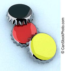 black/red/yellow (german flag) metal cap