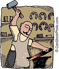 Blacksmith - A blacksmith hammers an iron bar in his...