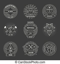 Blacksmith and forging logo or emblem vintage craft hipster vector set