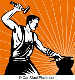 blacksmith, arbejde, wielding, hammer
