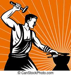 illustration of a Blacksmith at work wielding a hammer with sunburst in background done in retro woodcut style