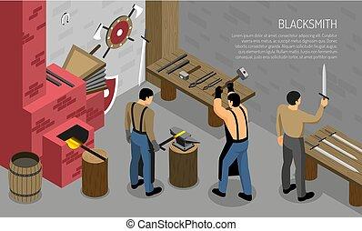 Blacksmith Craft Isometric Horizontal Illustration -...