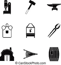 Blacksmith equipment icon set, simple style