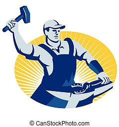 Illustration of a blacksmith farrier with hammer striking at horsehoe on anvil set inside oval done in retro style.