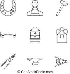 Blacksmith fireplace icon set, outline style
