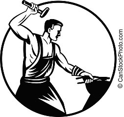 Blacksmith Foundry Worker With Hammer Striking Anvil Retro Black and White