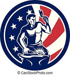 blacksmith hammer anvil front CIRC-USA-FLAG-ICON