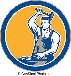 Blacksmith Hammering Pliers Circle Retro - Illustration of a...