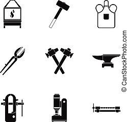 Blacksmith house icon set, simple style