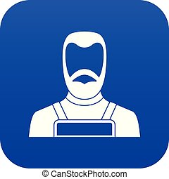 Blacksmith icon digital blue for any design isolated on...