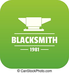 Blacksmith icon green vector isolated on white background