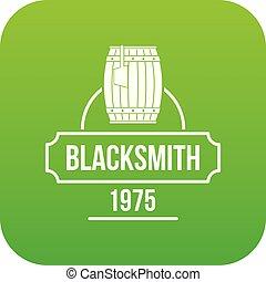 Blacksmith icon green vector