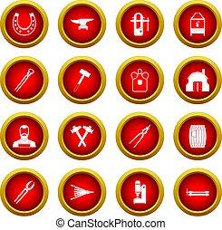 Blacksmith icon red circle set