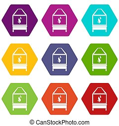 Blacksmith icon set color hexahedron