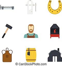 Blacksmith icon set, flat style