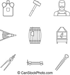 Blacksmith icon set, outline style