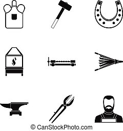 Blacksmith icon set, simple style