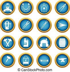 Blacksmith icons blue circle set