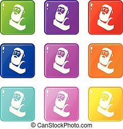 Blacksmith icons set 9 color collection isolated on white...