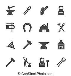 Blacksmith Icons Set - Decorative blacksmith shop anvil vise...