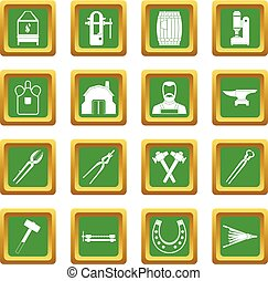 Blacksmith icons set green