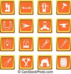 Blacksmith icons set orange