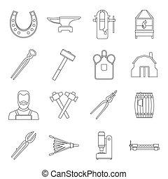 Blacksmith icons set, outline style