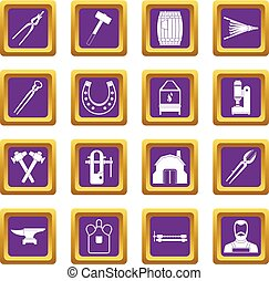 Blacksmith icons set purple