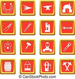 Blacksmith icons set red