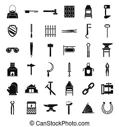 Blacksmith icons set, simple style