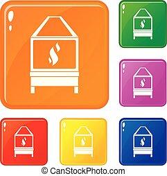 Blacksmith icons set vector color